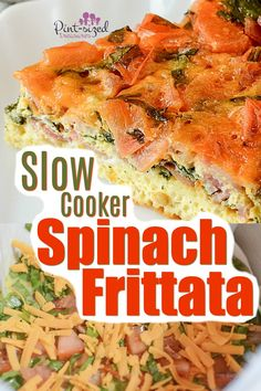 Slow cooker spinach frittata recipe is a simple, crustless quiche that's packed with flavors, seasonings and made in the slow cooker! You'll love this spinach filled frittata! Rice Cooker Recipes, Pressure Cooker Recipes, Crockpot Recipes, Easy Recipes, Casserole Recipes, Healthy Recipes, Breakfast For Dinner, Dinner Meal, Breakfast Recipes