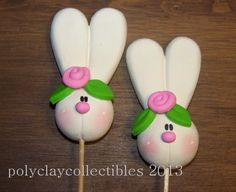 Bunny With Pink Flower - Cupcake Toppers - Baby Shower - Bake Sales - Set of 6