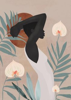 Tropical Girl 4 Mini Art Print by ThingDesign Without Stand 3 x 4 Art And Illustration, Arte Inspo, Tropical Girl, Art Africain, Arte Pop, Grafik Design, Aesthetic Art, African Art, Female Art