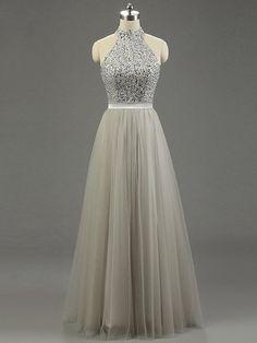 High Neck Gray Tulle Floor-length Beading Fashion Prom Dresses - pickedresses.com