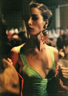 Christy Turlington backstage for Gianni Versace 1990