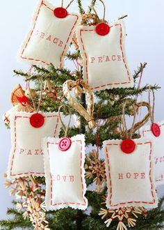"""""""Thinking these would make cute thank you gifts for our clients"""" Love Robin. T.  --  Sweet Tidings: Sweet Tidings 9th Day of Christmas: Joyful Message Sachet Ornaments"""