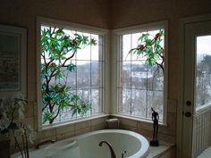 I've always wanted stained glass windows in my bathroom.  I'd die for a stained glass sky light!