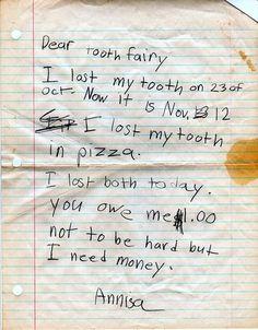 Una amenazadora carta para el Hada de los Dientes.   Las 50 cosas más lindas que han pasado