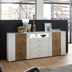 Wohnzimmer Sideboard In Weiss Holz LED Beleuchtung Jetzt Bestellen Unter Moebel