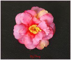 Fleur artificelle petite fleur de pêcher nuance rose, saumon, jaune barrette cheveux x1 : Décoration florale par lilycherry