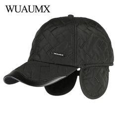 085d8cb2a92 Wuaumx Brand NEW Autumn Winter Baseball Caps For Men With Ear flaps Cotton  Thick Warm earmuffs Cap Men Dad Hat   Caps Casquette