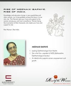 Support Women empowerment #RiseofWomen, Rise of India – Meenaxi Bapaye Renowned Leading Ophthalmologist from Nashik.