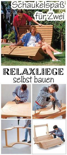 Sauna bed made of wood self.de Swinging is also something for adults – especially when it comes in the form of a relaxation lounger. We show how to build the ingenious lounger for two people for the garden itself. Informations About Saunaliege aus Holz Outdoor Projects, Garden Projects, Wood Projects, Diy Garden, Wooden Garden, Wooden Diy, Woodworking Plans, Woodworking Projects, Woodworking Classes