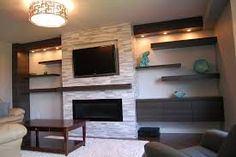 linear fireplace with tv over - Google Search