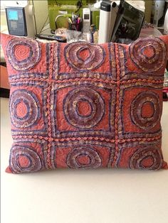 Pillow I made with Stitch & Slash technique class by Carol Ann Waugh at Craftsy.