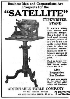 Adjustable Table Co., Grand Rapids, Michigan manufacturers of Satellite adjustable typewriter stands and tables French Industrial, Industrial Table, Cast Iron Table Base, Adjustable Table, Drop Leaf Table, Book Stands, Brass Table Lamps, Vintage Typewriters, It Cast