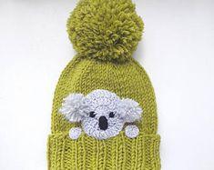Koala Hat, Knit Hat, Winter Hat, Pom Pom Hat, Kids Outfit, Girls Accessories, Women Hat, Knit Beanie, Winter Fashion, Cute Hat, Animal Hat