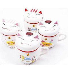 Shanshan Lucky Cat Ceramic Coffee Mug with Lid Random Color,9.5X8X11cm * Review more details here : Cat mug