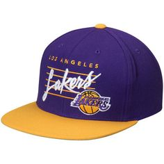 Men s Mitchell   Ness Purple Yellow Los Angeles Lakers Cursive Script Logo  Adjustable Snapback Hat 5dee130e7cb7