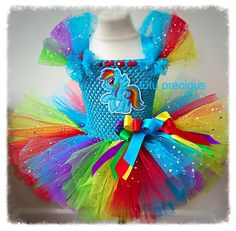 Rainbow Dash My Little Pony Inspired Tutu Dress. This dress would be prefect for gift giving, dressing up, dance practice, photo props or just to make a little girls eyes light up in excitement. Coordinating Wand (£6.50) and hair bow (£4.50) available to complete the outfit. | eBay!