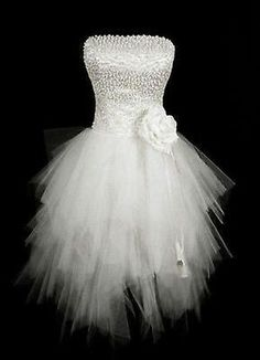 Beaded New White Ivory Tulle Net Sexy Short Mini Wedding Bridal Dresses Gown You like? @Britney Fisher