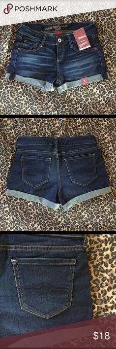 """Arizona Dark wash short shorts Sz. 3 New & cute Women's/juniors size 3 ~ NEW with tags! These are super comfy, Stylish & cute!! Made by Arizona these are a dark wash with a factory washed look, have stretch, are factory rolled, lower Rise & are Arizona's """"shortie"""" style! ~ just perfect for any spring or summer outfit! Comfy & stylish!! Thank you for looking & Happy Poshing ☀️✌️❤️ Arizona Jean Company Shorts Jean Shorts"""
