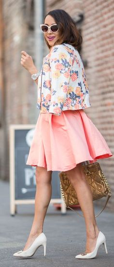 I adore the peachy pink floral pattern in this vintage blazer and dress duo... pretty in pink ;-) xox - style Floral Blazer Outfit Idea by A Keene Sense Of Style