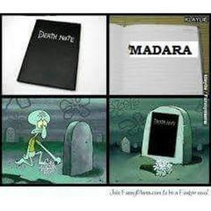hahahaha :D madara killed the death note. i believe it! #madara #naruto #funny
