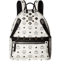 MCM Dual Stark Small Backpack (White) Backpack Bags (£685) ❤ liked on Polyvore featuring bags, backpacks, mcm backpack, zip handle bags, detachable backpack, strap backpack and day pack backpack