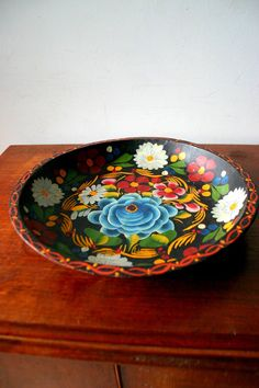 Rustic hand painted mexican wooden plate