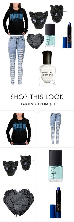 """""""Panthers"""" by erinbeatrice ❤ liked on Polyvore featuring 5th & Ocean, Betsey Johnson, NARS Cosmetics and Deborah Lippmann"""