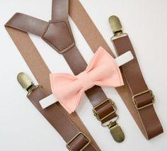 Bow Tie & Suspenders SET / Peach Bow Tie Brown by BowTieLoveINC