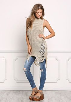 Khaki Sweater Knit Frayed Tank Top - Sweaters - Tops - Clothes