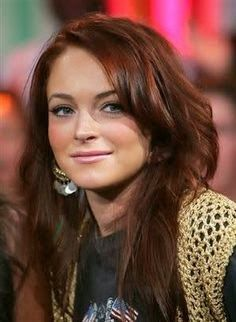 World's Most Beautiful Celebrity: Lindsey Lohan, nice red/brown hair color.