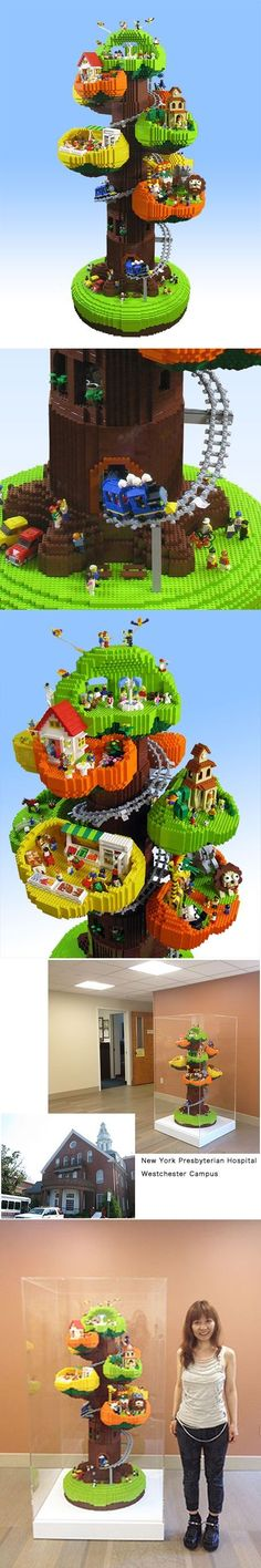 Welcome to the Tree Town! About 40,000 pieces of LEGO Bricks H1500 × W750 × D750 mm colection New York Presbyterian Hospital, USA #LEGO: