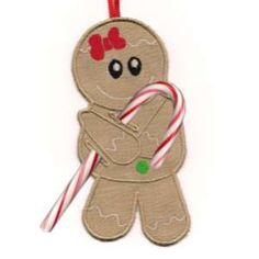 """This free embroidery design is from Embroidery Machine Designs' """"In the Hoop Candy Cane Ornaments"""" collection."""