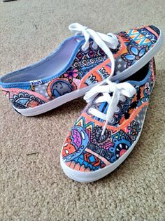 Custom made sharpie shoes... Seriously?!  They want $60 for a $25 - $30 pr of Keds with a Sharpie written design on them?!  Save yourself $30 and draw your own design, make it pertinent to your life & the things you like... much more interesting, and fun!