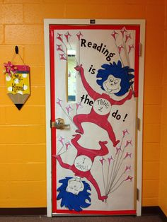 """Dr. Seuss - Thing 1 and Thing 2 - Classroom door decoration - National Read Across America Month - """"Reading is the Thing 2 do!"""" - students add a bow to their kite's string for each book they complete."""