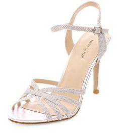 24193ab5f28 Silver Strappy Heeled Sandals New Look