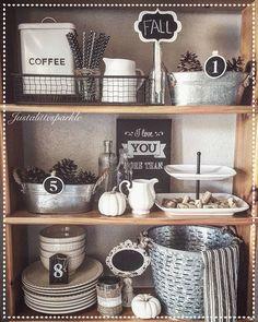 Shelves styling, rustic decor, farmhouse