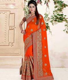 Buy Orange Faux Georgette Wedding Saree 73755 with blouse online at lowest price from vast collection of sarees at Indianclothstore.com.