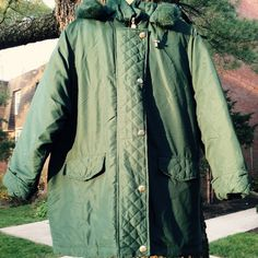 Great Gifts NEW Woman Within Plus Size Down Coat Jacket Removable Hood  Green 1X #WomanWithin #Parka
