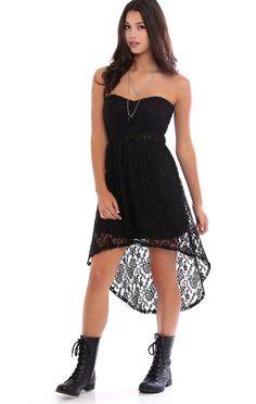 Deb Shops all over lace strapless illusion waist high low day dress $26.25