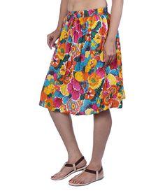 Fashiana Women Colorful Floral Printed Cotton Mini Beach Skirt
