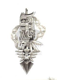 Mayan Gods by hecxjimenez on deviantART Tatuagem Azteca, Aztec Warrior Tattoo, Ozzy Tattoo, Colorful Sleeve Tattoos, Jaguar Tattoo, Mayan Tattoos, Aztec Tattoo Designs, Monster Tattoo, Aztec Culture