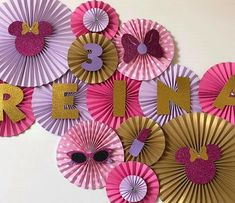 This set of handmade paper fans will be the perfect addition to your next party, event, or photo sho 1st Birthday Cake For Girls, Minion Birthday, Mickey Mouse Birthday, Minnie Mouse Party Decorations, Birthday Party Decorations, Birthday Parties, Paper Rosettes, Paper Flowers, Diy Arts And Crafts
