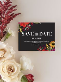 Spanish Florals Wedding Save the Date Cards Vintage Save The Dates, Unique Save The Dates, Floral Save The Dates, Luxury Wedding Invitations, Elegant Invitations, Wedding Stationary, Invites, Boho Wedding Ring, Casual Wedding Hair