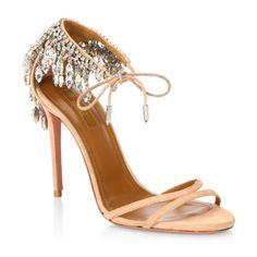 "eden embellished suede stiletto heel sandals by Aquazzura. Crystal embellished sandals in a gorgeous design. Self-covered stiletto heel, 4.75""(105mm).Suede leather upper. Open-..."