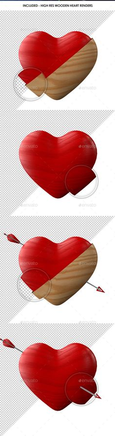 Retro Shabby Chic Wooden Heart Renders by OliverBrownCreative A collection of Wooden Heart renders in various types. PSD, TIF and PNGs included.