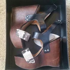 Shoemint Nicole Black and Tan Platform Sandals 10 70's inspired platform wedges. Black ankle strap and snake print toe strap. Size 10. Worn once. Shoemint Shoes Sandals