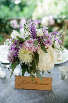 Lavender and white floral centerpiece | Kristyn Hogan Photography | see more on: http://burnettsboards.com/2014/10/lavender-southern-wedding/
