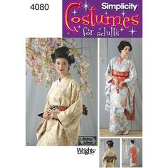 4080, Simplicity, Geisha Kimono, Wrap Dress, Obi and Belt, Vintage Oriental Asian style, Fantasy, Role Play, Cosplay, Dress Up, Halloween #ObiAndBelt #SewingPattern #4080 #Simplicity #RolePlay #MoondancerCrafts #GeishaKimono #DressUp #WrapDress #Cosplay