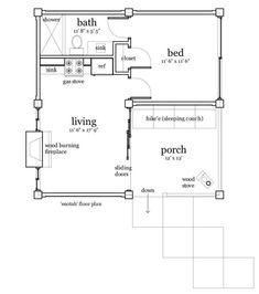 Casa elevada de 42 m2- 1 dorm./ 1 baño/ sala de estar/ cocina/ chimenea+ porch