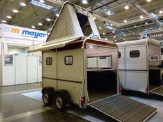 German horse trailer with roof tent.